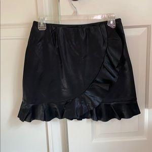 Mink pink black faux leather skirt